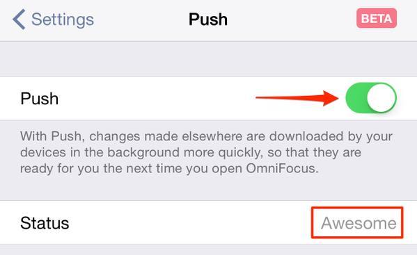 OmniFocus 2.6 for iOS - Push Feature