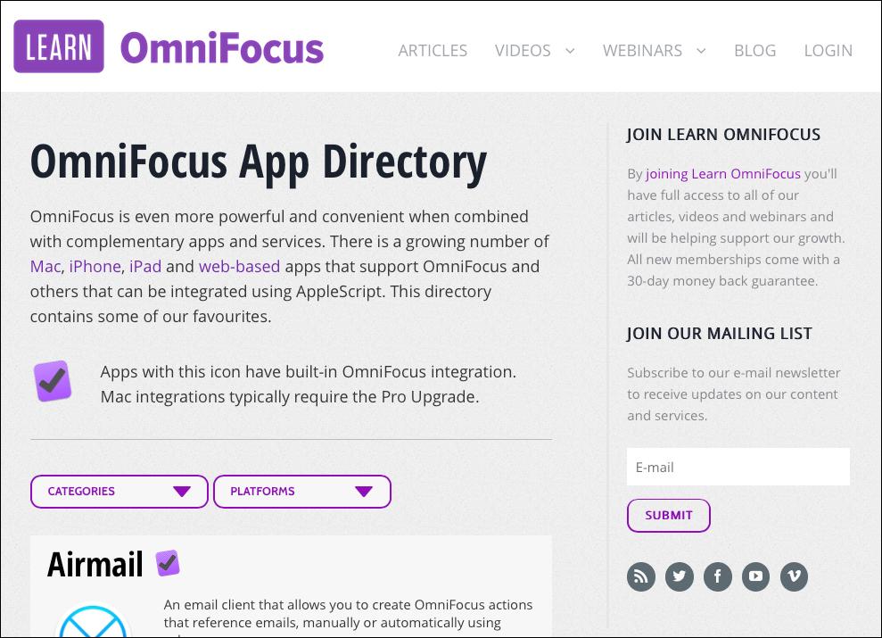 Learn OmniFocus - OmniFocus App Directory