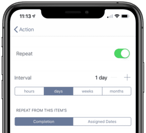 OmniFocus 3 for iOS - Repeat Daily