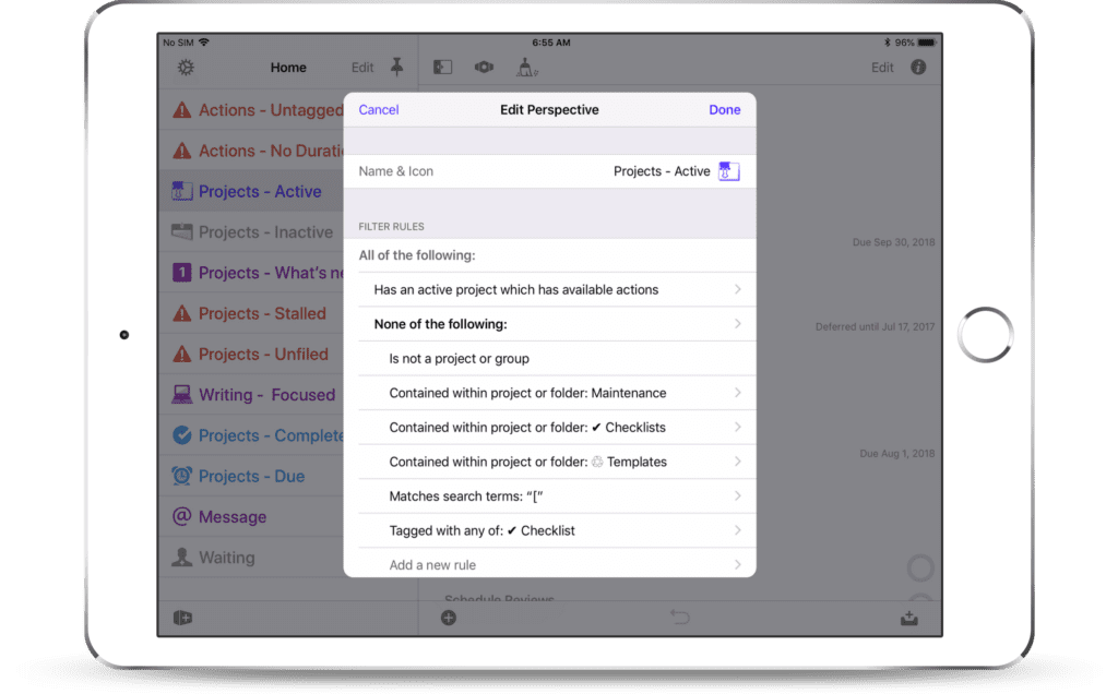 OmniFocus 3 for iOS - Custom Perspectives