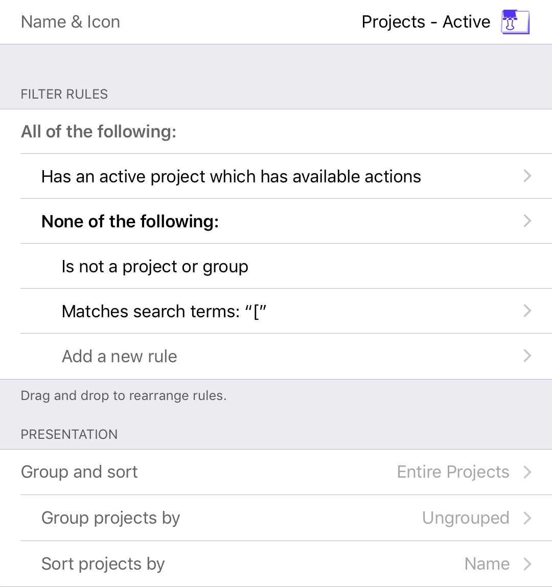 OmniFocus 3 for iOS Perspective - Projects - Active
