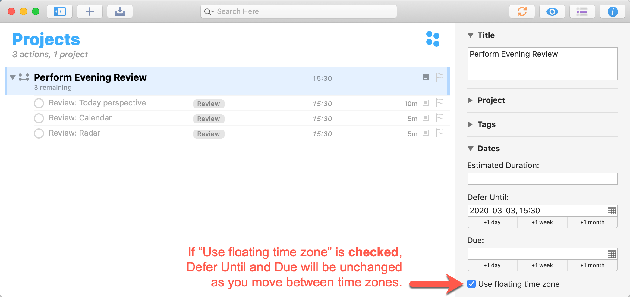 OmniFocus 3.6 for Mac - Use Floating Time Zone